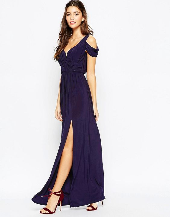 ASOS+WEDDING+Drape+Cold+Shoulder+Maxi+Dress