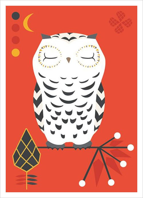 Folklore Owl Card by Terese Bast.