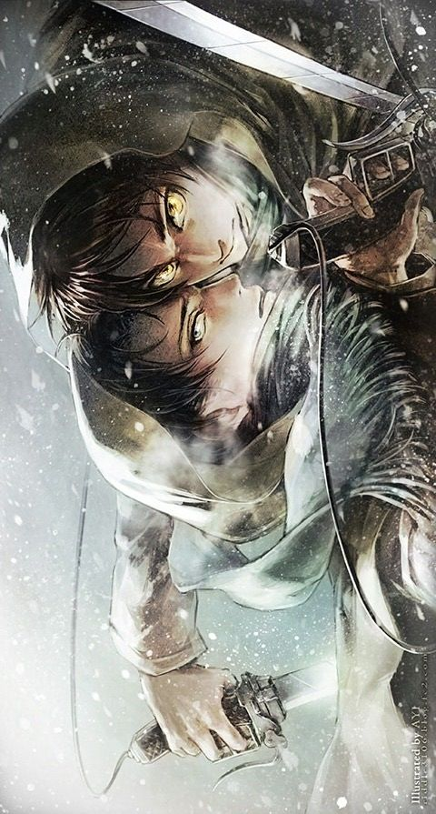 Attack on Titan ~~ Snowy battlefield :: Eren x Levi: