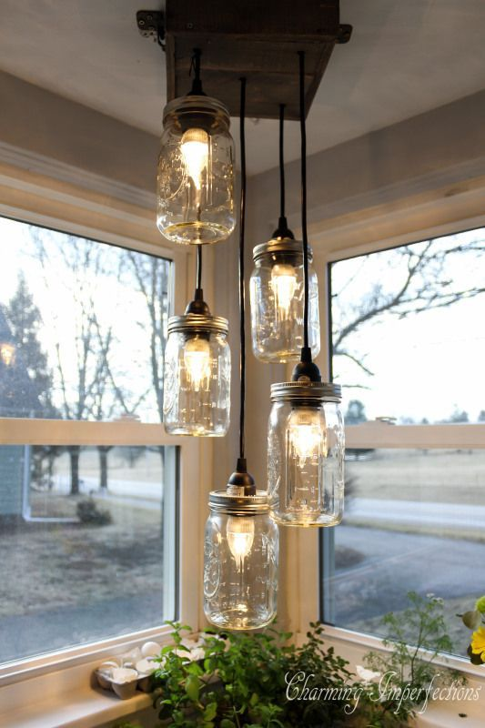 Mason Jar Chandelier - Charming Imperfections - http://centophobe.com/mason-jar-chandelier-charming-imperfections/