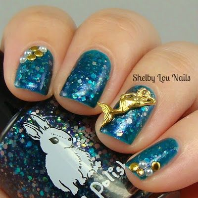 Shelby Lou Nails - Hump Day HARE - Hare Polish - Mermaid Sighting in the GBR - Mermaid charm from Daily Charme - With Flash