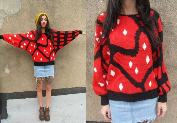 80's Red LADYBUG Abstract Chunky Batwing Knit by SomeVelvetVintage, $40.00