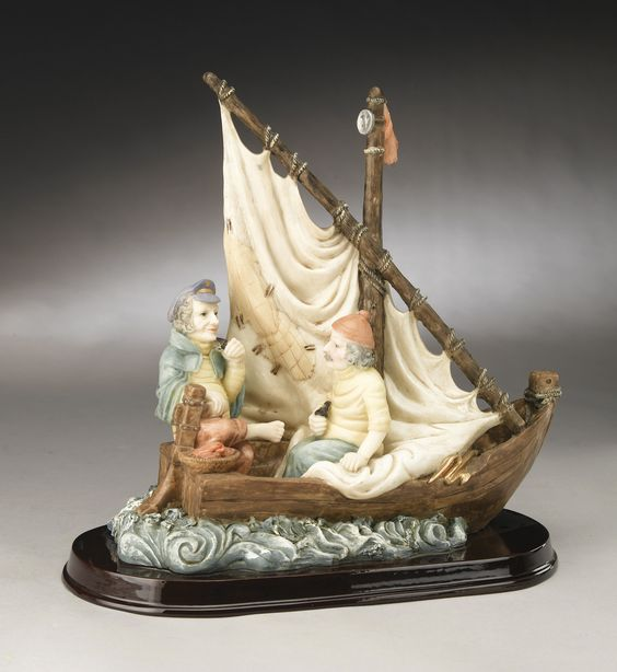 Two Fisherman in a Boat Figuine