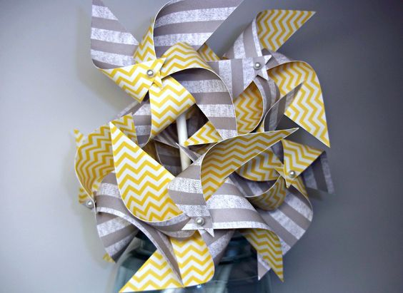 Modern Grey & Yellow Chevron Wedding Pinwheels. Small Spinning Pinwheels. Party Favors or Cake Toppers (set of 9). $13.50, via Etsy.