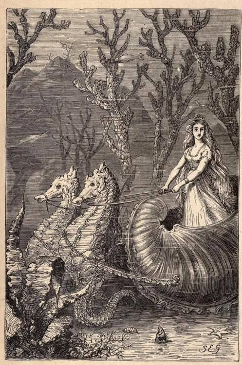 "'It was the Princess Ondine.' illustration for ""Harry's Big Boots. A fairy tale, for ""Smalle folke."" (1874) by author & illustrator Susan Elizabeth Gay. via Dryad:"