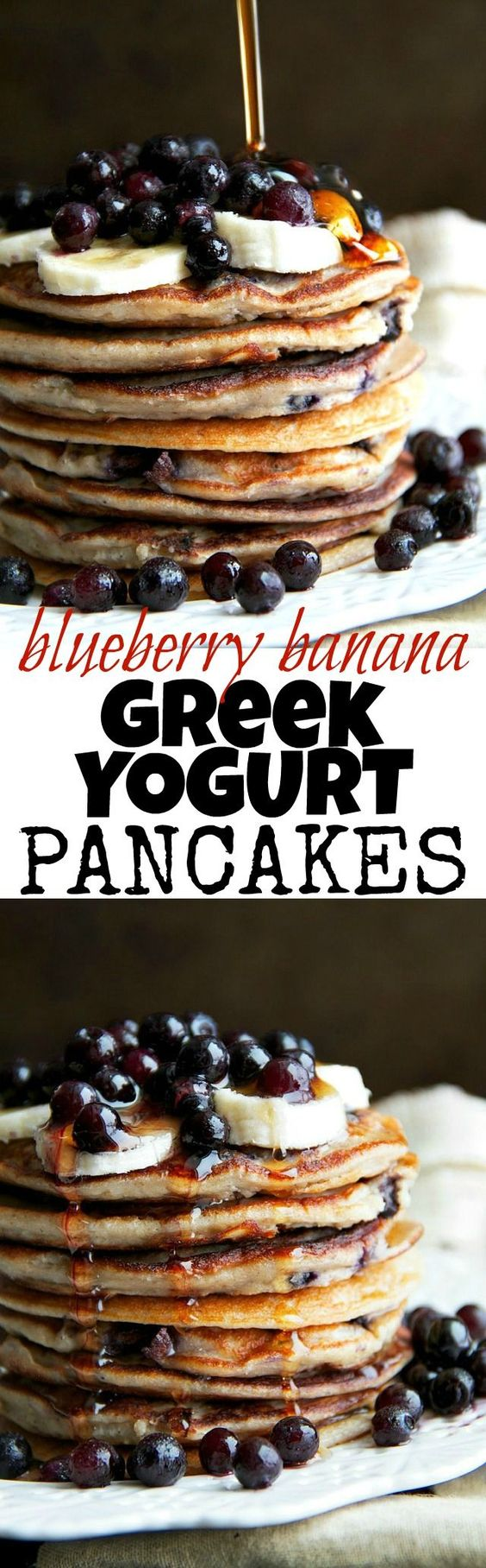 These light and fluffy Blueberry Banana Greek Yogurt Pancakes are sure to keep you satisfied all morning with over 20g of whole food protein!   runningwithspoons.com #glutenfree #healthy #breakfast