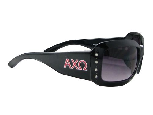 Alpha Chi Omega Black Frames With Rhinestones Sorority Womens Sunglasses