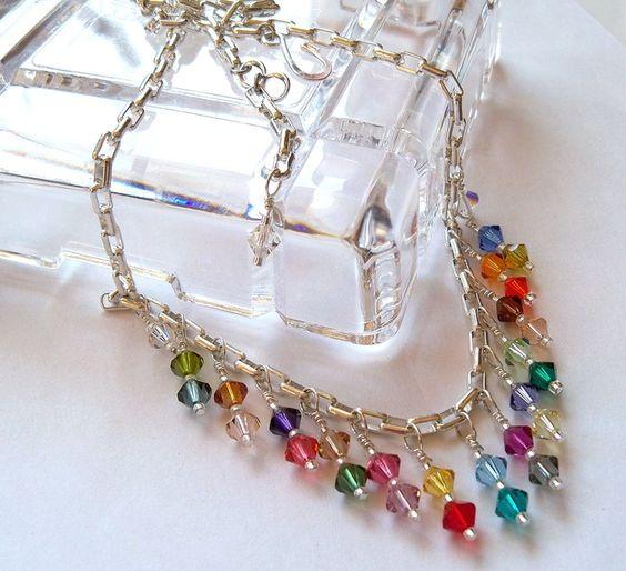 """Rainbow Swarovski Necklace """"Color Carnival"""" by DancingRainbows, $37.00 USD"""