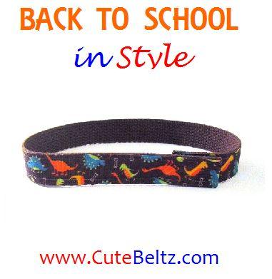 Dinosaur Boys Velcro Belt, http://www.cutebeltz.com/roaring-dinosaur-boys-belt-velcro/. #backtoschool #boysbelt #cutebeltz