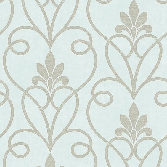 Fine Decor Tuscany Damask Wallpaper Mint / Silver