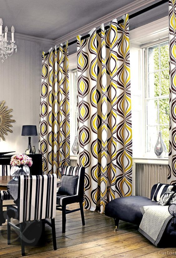Retro Curtains #interiordesign #homedecor #interiors #curtains #fabrics  #colour #home
