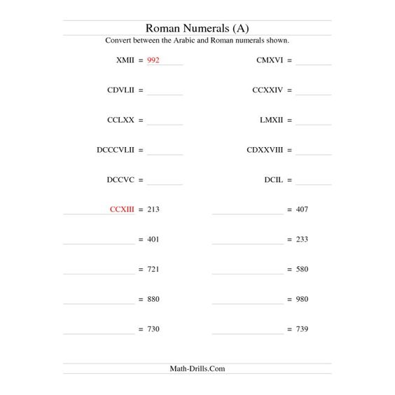 For Math Explorations class, we learn about Roman Numerals at the - roman numeral chart template