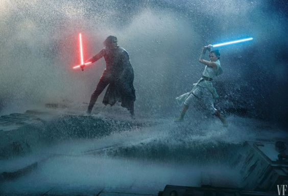 "Kylo Ren (Adam Driver) and Rey battle it out with lightsabers in a stormy confrontation. Their Force-connection—what Driver calls their ""maybe-bond""—will turn out to run even deeper than previously revealed."