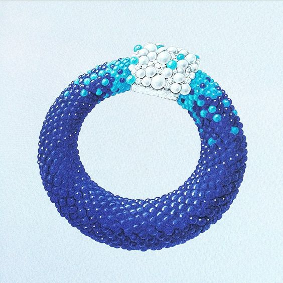 Van Cleef & Arpels new High Jewellery collection Seven Seas the beads of lapis lazuli mimic the deep open sea, the turquoise the shallows and the pearls the foam of a breaking wave.