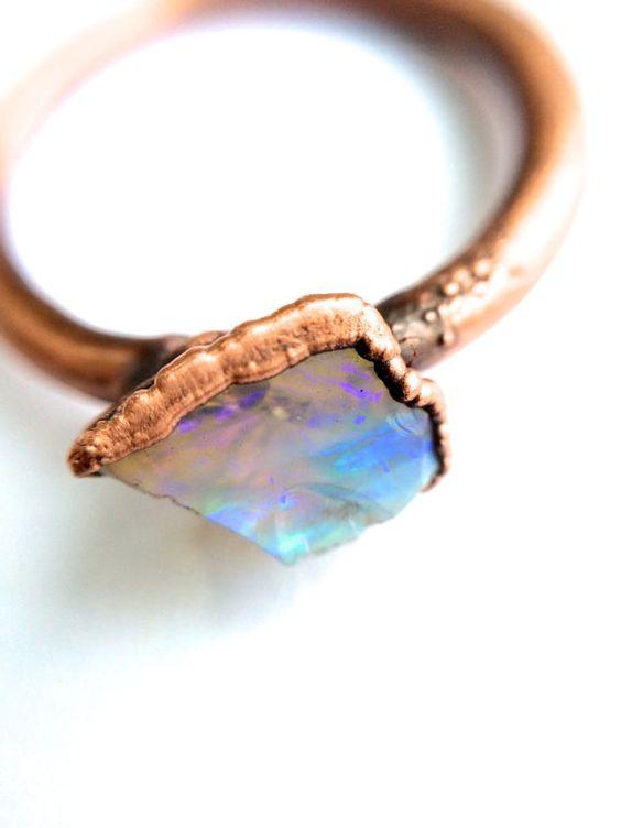 Genuine opal ring Australian opal jewelry Rough by HAWKHOUSE