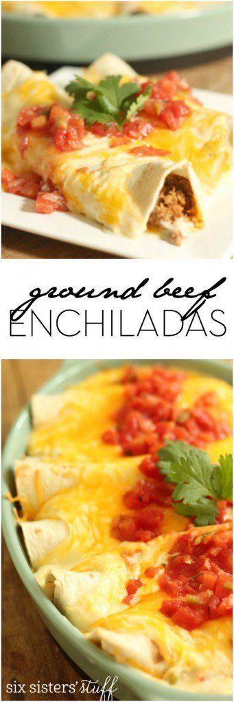 An easy weeknight dinner - Ground Beef Enchiladas. Recipe from Six Sisters' Stuff
