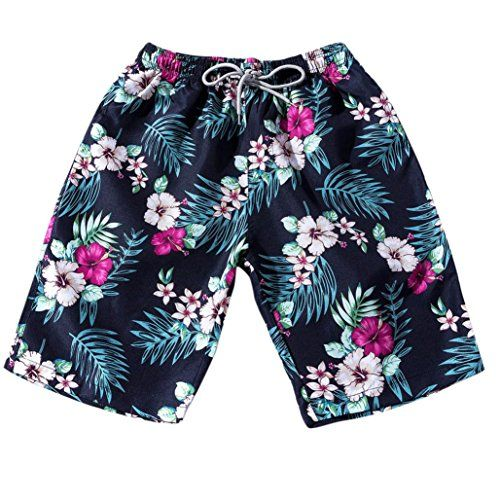 Summer Stylish Green Leaf Printed Loose Casual Beach Board Shorts Swim