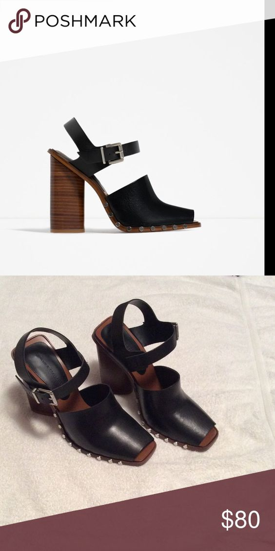 Size 37 Zara clog heels. BNWoT. Never worn. Too big for me. Willing to trade for size 36. These are size 37. Zara Shoes Heels