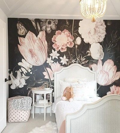 This wallpaper turned out perfect.  Another room in progress at our house.  #sucasadesign #interiordesign #micasa #customhome #wallpaper #floral #bouquet #flowers #chandelier #abbotsford #fraservalley #yvr #design #kid #bedroom #girl #pink #designer #details #pillows