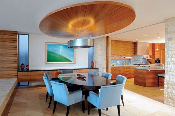 modern dining room with wrapped-ceiling design   Dining room and ...