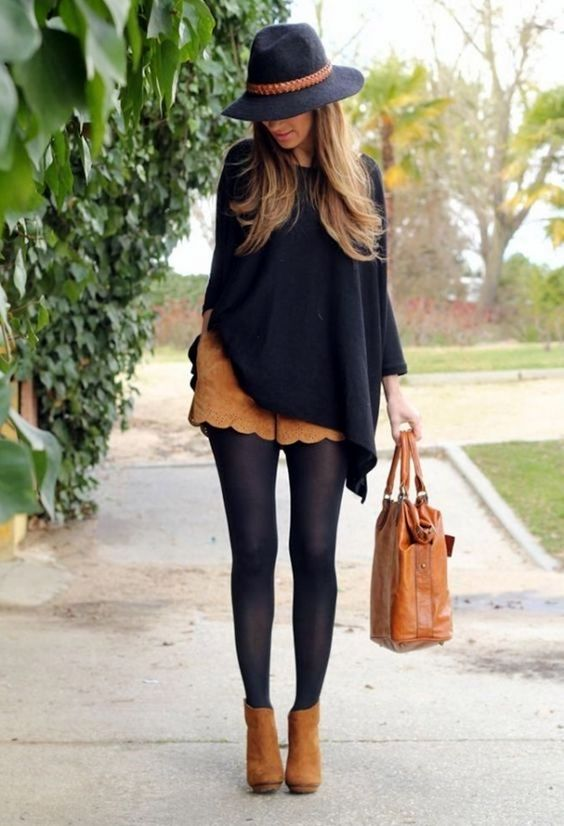 Tights and ankle boots are a perfect way to keep warm, and show off those legs!