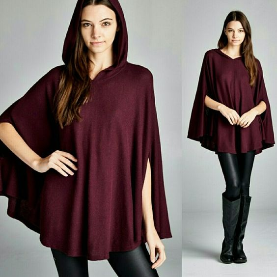 Burgundy loose sweater with Hoodie Burgundy size small medium or large.  New without tags. Telemetrie Sweaters Shrugs & Ponchos