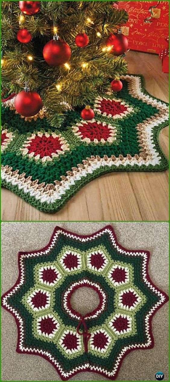 Repeat Crochet Me Crochet Granny Ripple Tree Skirt Free Pattern Christmas Crochet Patterns Crochet Tree Christmas Tree Skirts Patterns