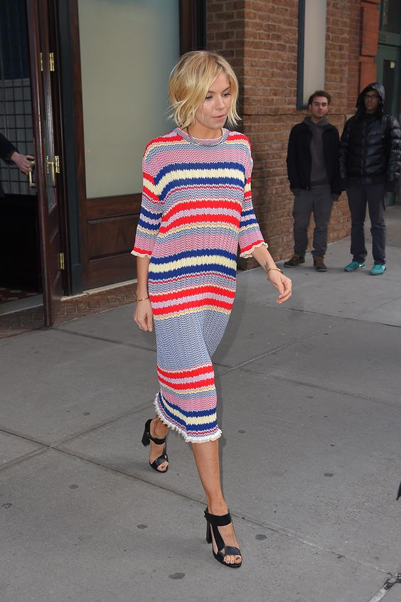sienna miller striped dress street style