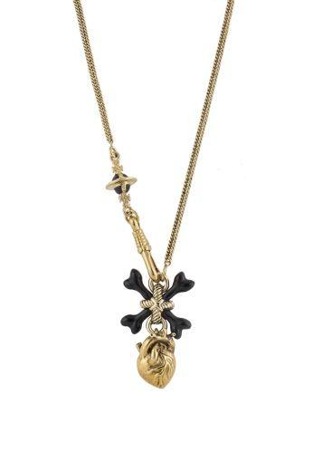 Otho Pendant Black: Finished Chain, Crossbones Swing, Antique Gold, Otho Pendant