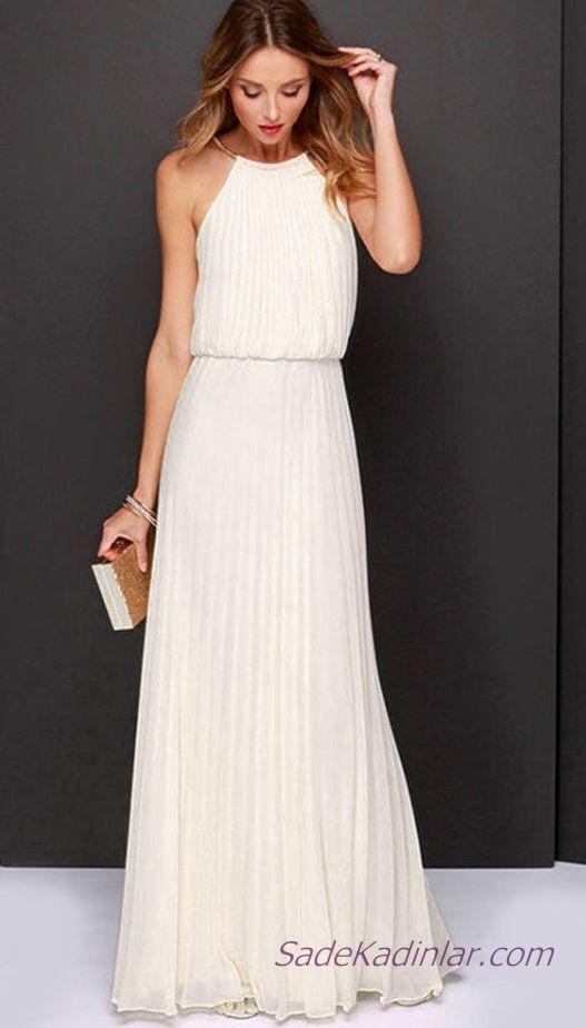 2020 Beyaz Sifon Elbise Modelleri Uzun Boyundan Metal Askili Pileli Desenli Maksi Elbiseler Sifon Elbise Elbise Modelleri