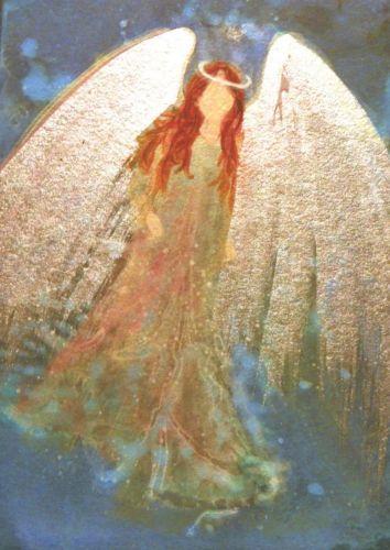 ACEO Cape Cod Artist Original Acrylic Painting Healing Angel Metallic Shine: