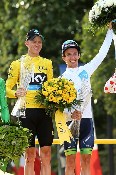Chris Froome of Great Britain and Team Sky winner of the Tour de France 2016 and Adam Yates of Great Britain and OricaBikeExchange…