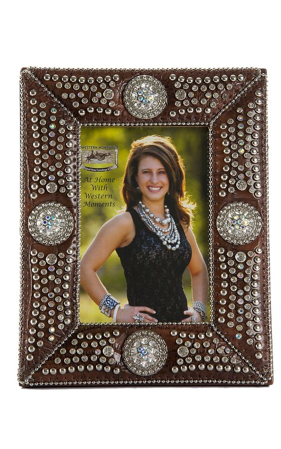 M Amp F 174 Western Moments Jeweled Brown Croc Print With