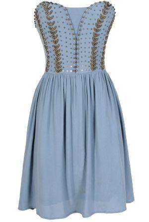 Antique Bronze Embellished Dress in Powder Blue