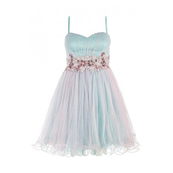 Aqua And Pink Two Tone Mesh Prom Dress ($99) ❤ liked on Polyvore featuring dresses, short dresses, mesh mini dress, pink prom dresses, pink cocktail dress, short cocktail prom dresses and mini dress