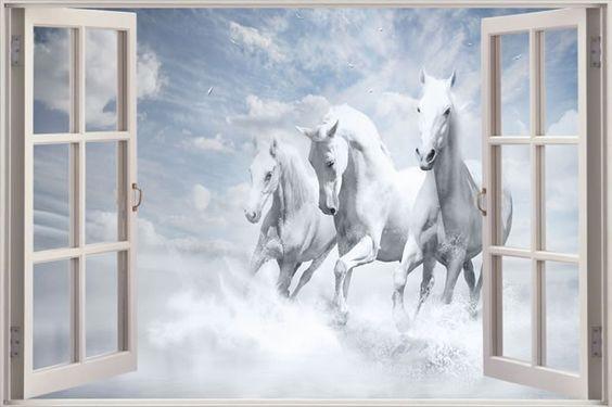 White Horses in the Sea Wall Sticker - Ebay