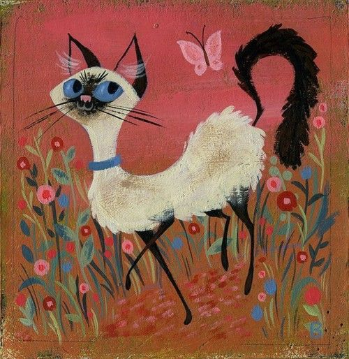 Siamese Cat Art - looks like it could be straight out of the 1970s
