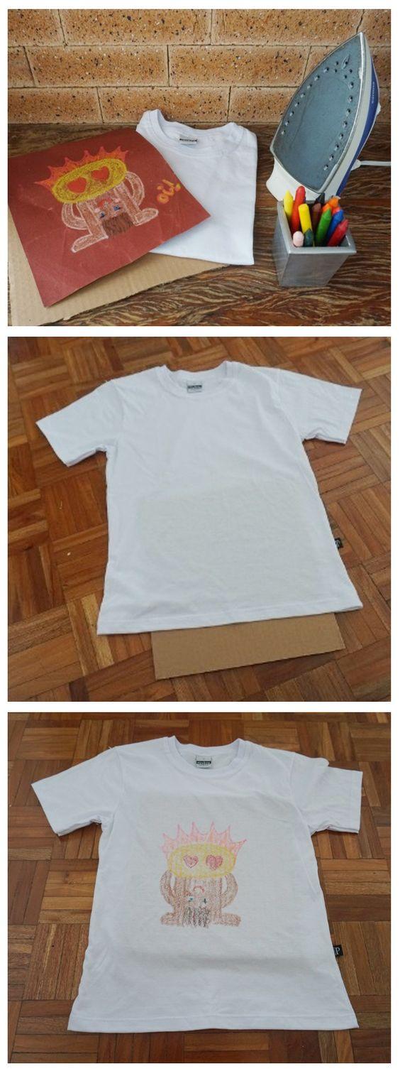 Passo-a-passao de como fazer estampa de camiseta caseira, usando lixa, giz de cera e ferro.
