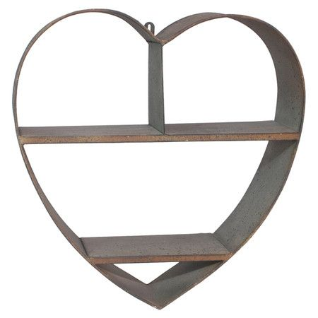 Metal wall shelf with a heart silhouette.  Product: Wall rackConstruction Material: MetalColor: Tan