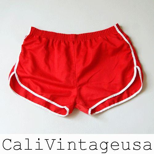 vtg 70s bright RED hot pants running swim roller surf skate short ...