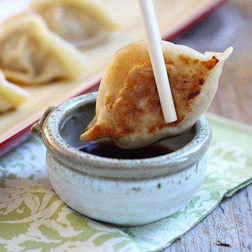 pan-fried dumplings with pork, shrimp & cabbage