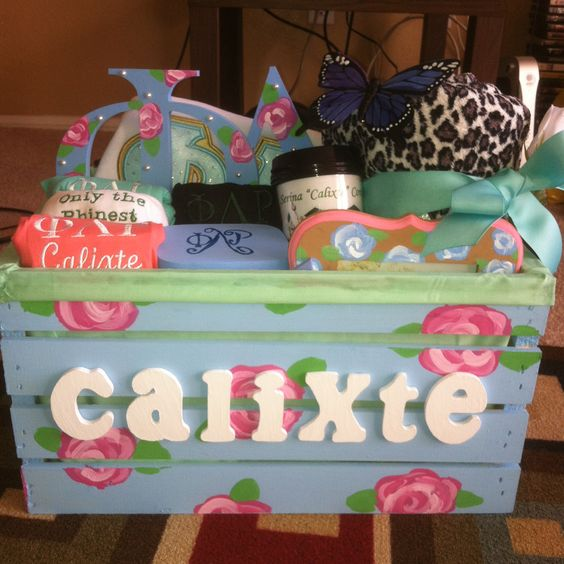 Sorority Gifts for Lil Sis!! Crate filled with lots of goodies!!!