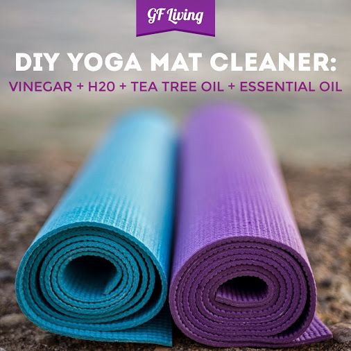 Combine a 3 to 1 ratio of water & vinegar in a spray bottle. Add 1 tsp of tea tree oil, a few drops of your fave essential oil and voila - you have your own homemade #Yoga Mat Cleaner! Just #ScrubAway!
