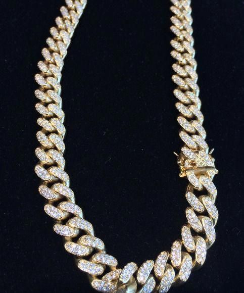Beautiful White and yellow gold 14K Sterling Silver w//14k Diamond Necklace