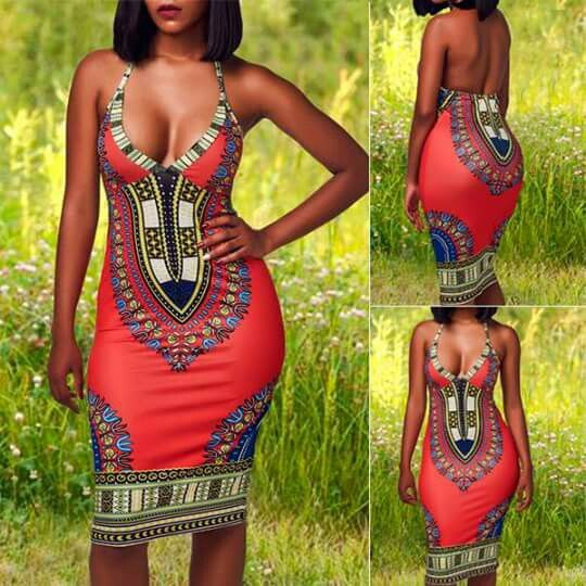 V Neck High Waist Printed Dress