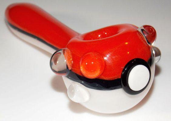 The PokeBall Pipe - 5.5 Inch Heady Glass Spoon Pipe Pokemon Smoking Bowl