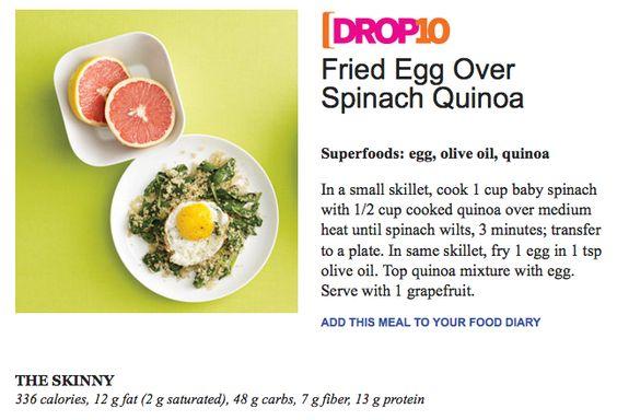 fried egg over spinach quinoa