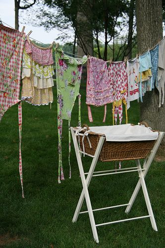 Had to do this a few weeks ago with a broken dryer and the nearest laundromat far away. It was not as cute as this picture!
