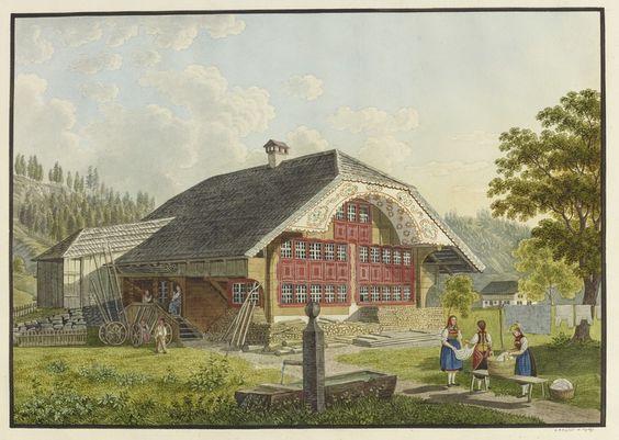 David Alois Schmid (1791–1861)  (Bauernhaus im Entlebuch); Bauernhaus im Entlebuch; Aquarell