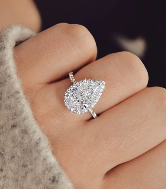 2.00Ct Pear Shape VVS1 Diamond Halo Engagement Wedding Ring 14K White Gold Over